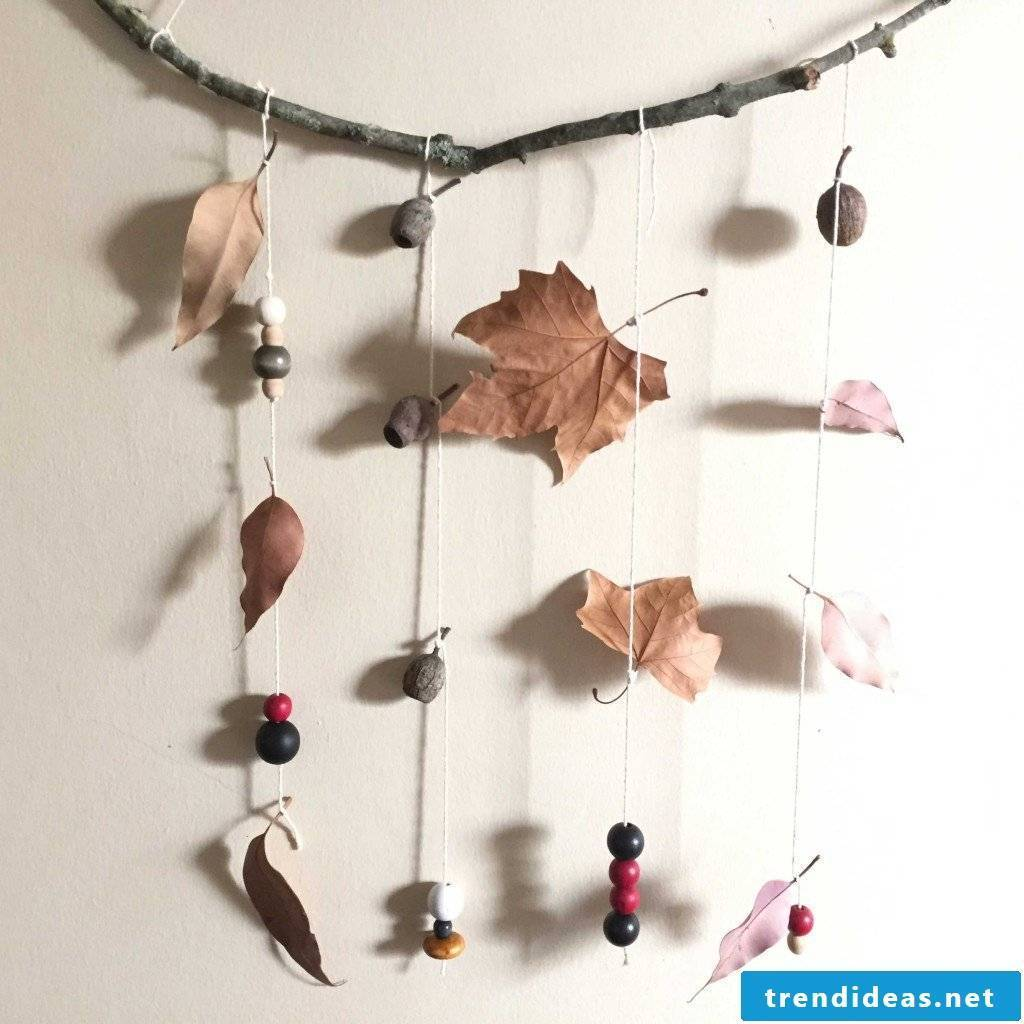 Autumn mobile with natural materials