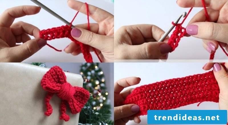 Crochet for christmas ribbon