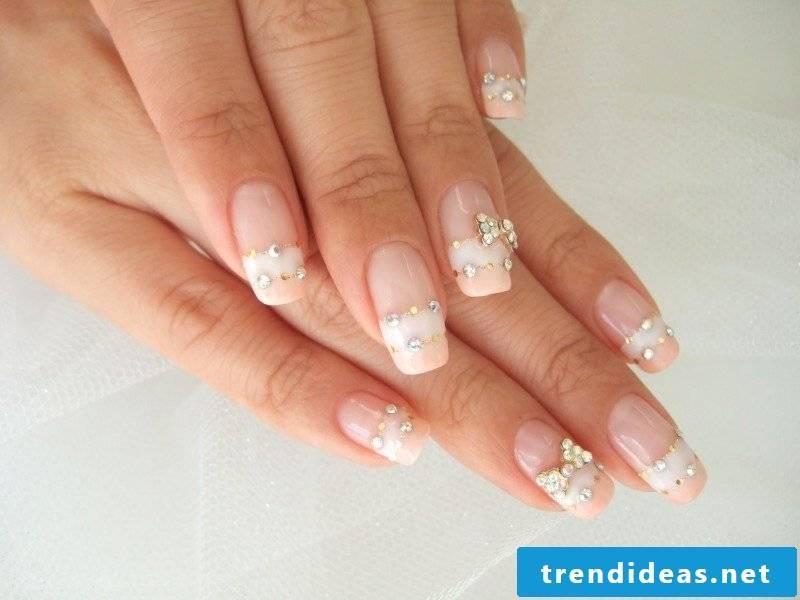 Nail art French crystals