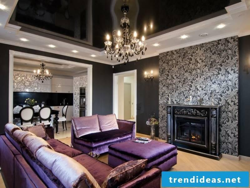 purple sofa and black atmosphere