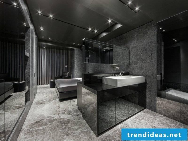 luxury bathroom in dark colors