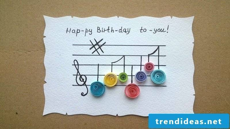 birthday cards design yourself on white paper framed like a song