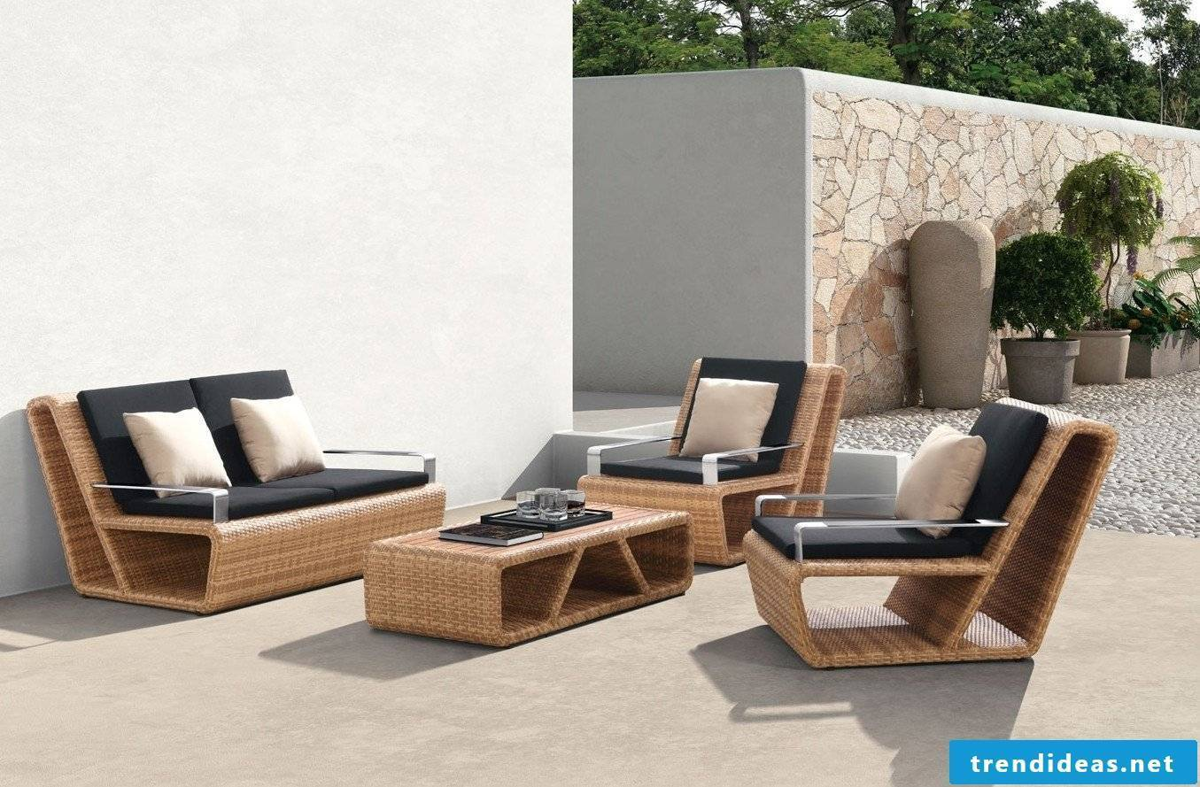 Chic polyrattan garden lounge furniture