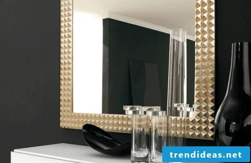 designer mirror gold