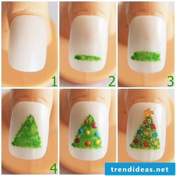 Pictures instructions for nail design Christmas