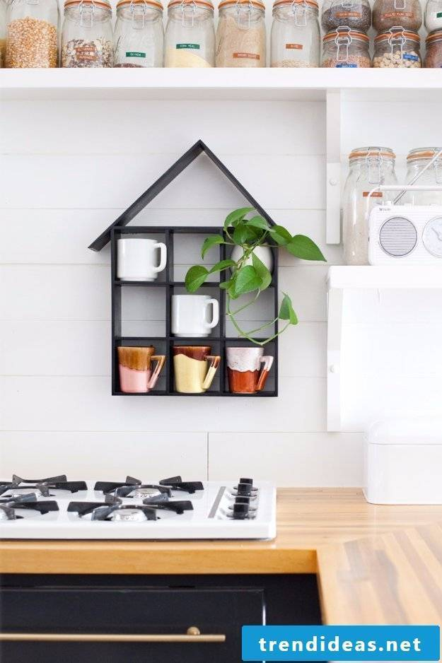 Kitchen decor with coffee cups