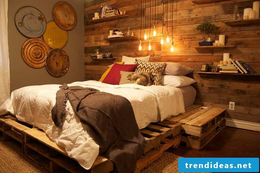 Platform bed made of pallets