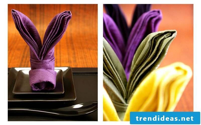 A colorful hare from napkins.