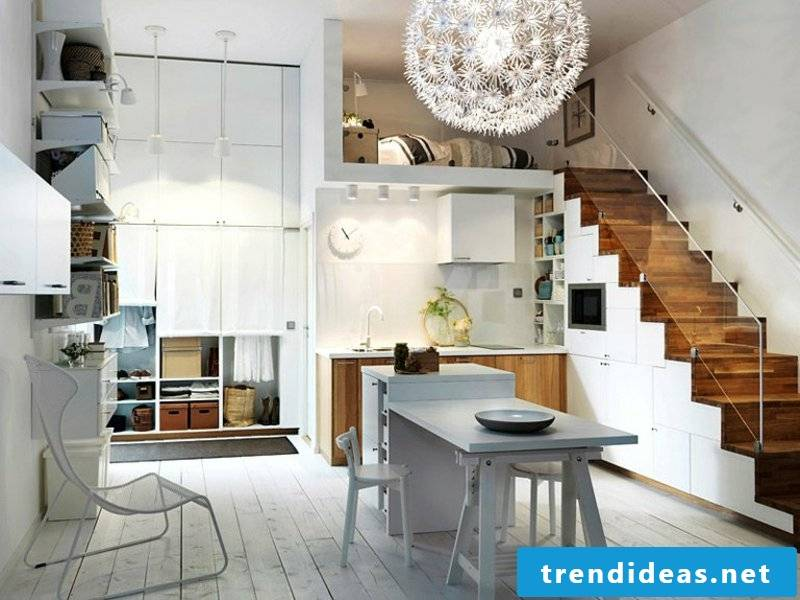modern kitchen of the stairs