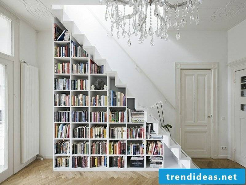 huge library under the stairs