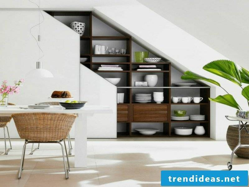 enlarged dining room under the stairs