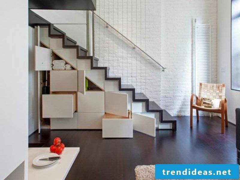 many comfortable cupboards under the stairs