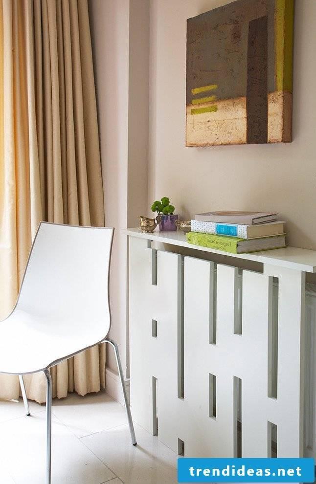 Radiator panel in minimalist style as a shelf