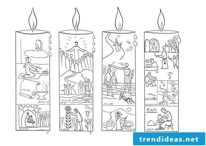 Christmas motives for printing out candles