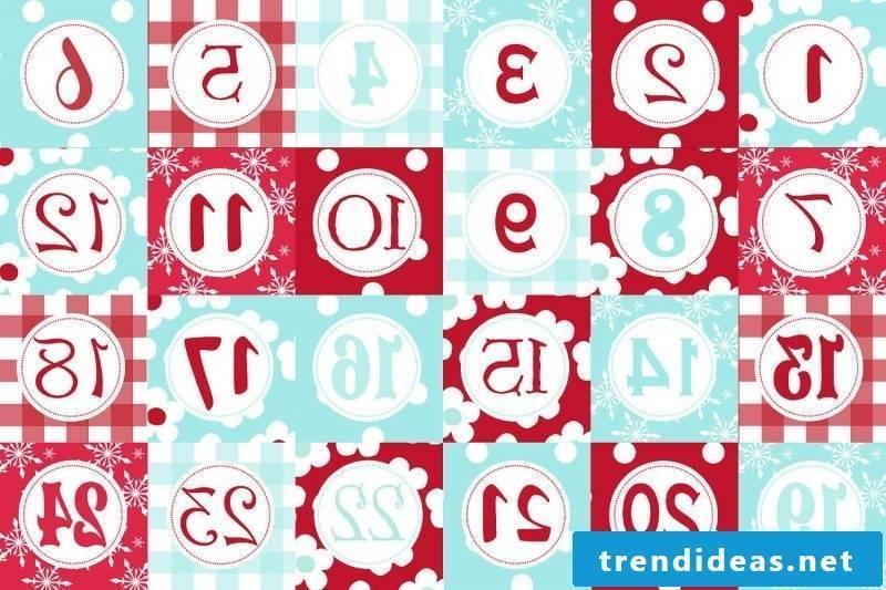 Christmas motives for printing Advent calendar