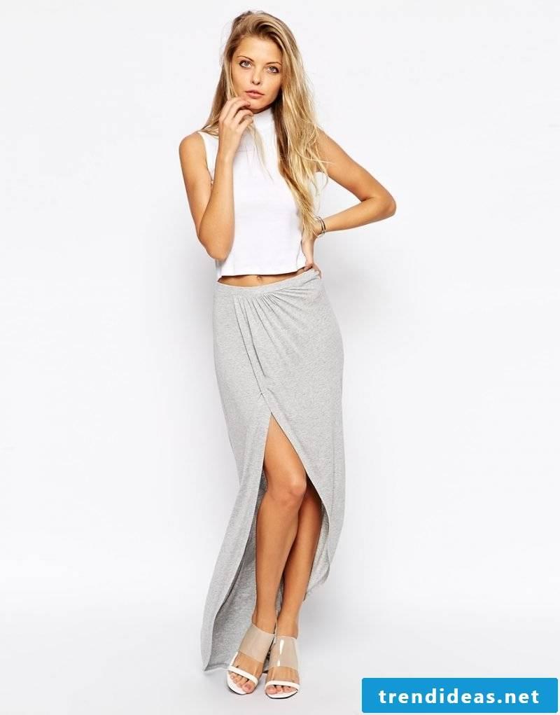 elegant gray wrap skirt