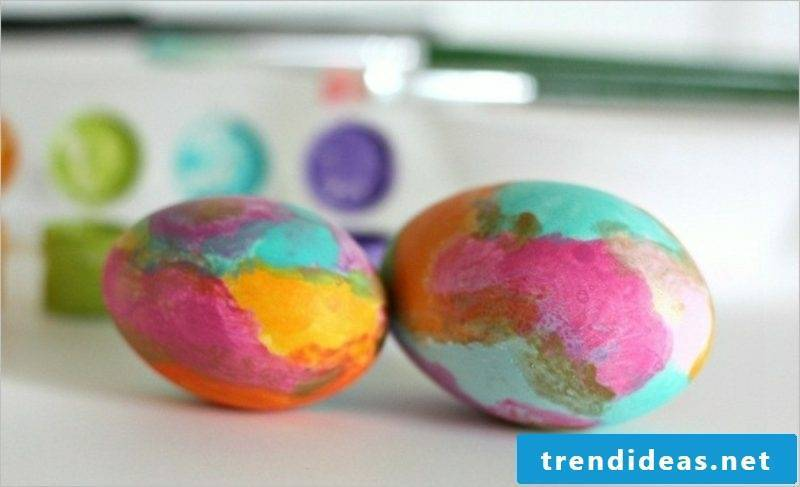 Easter eggs color with natural marbling marvelous look