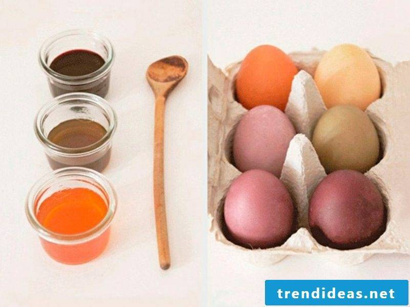 Easter eggs color with natural colors. Guide necessary ingredients