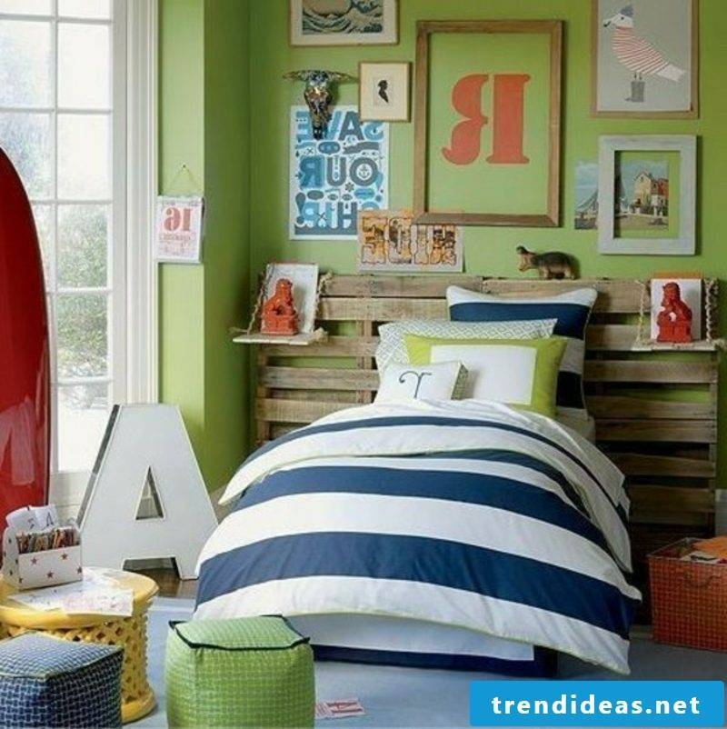 Euro pallets bed with headboard modern look