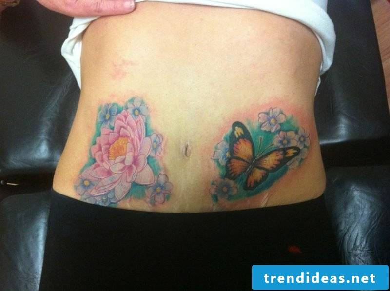 two interesting tattoos water lily and butterfly