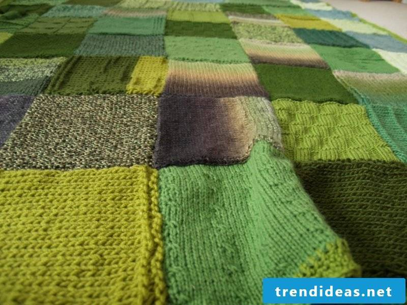 Sewing patchwork blanket from wool