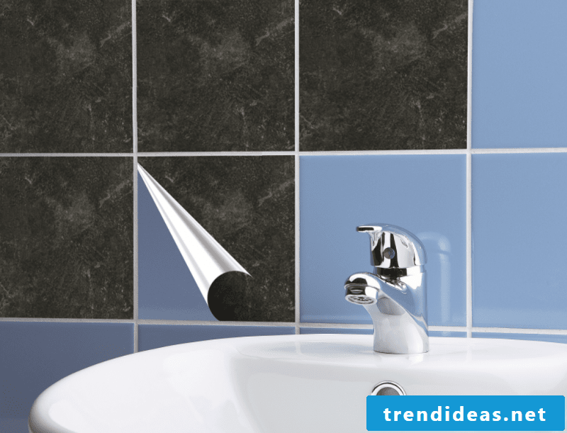 Wall tiles bathroom over adhesive PVC tiles self-adhesive