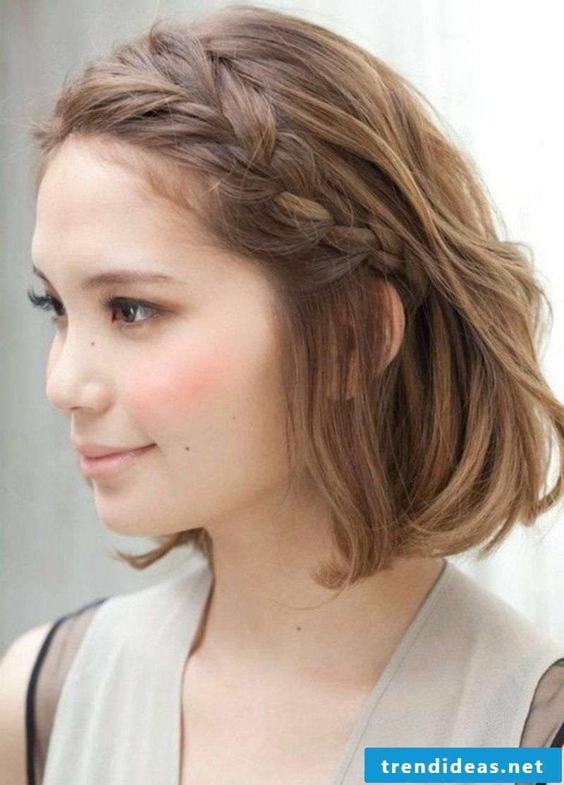 plaited braids on the side medium-length hair