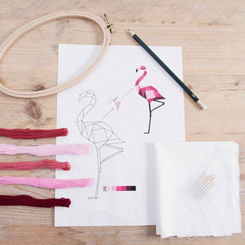Embroider learn original patterns flamingo