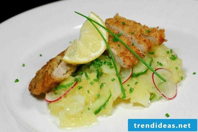 Good Friday food recipe Potato salad with trout and dill