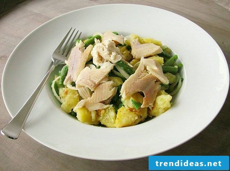 Good Friday food Potato salad with trout fillets and beans