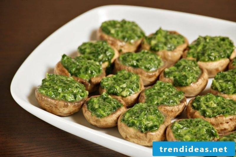Good Friday holiday dishes mushrooms stuffed with spinach