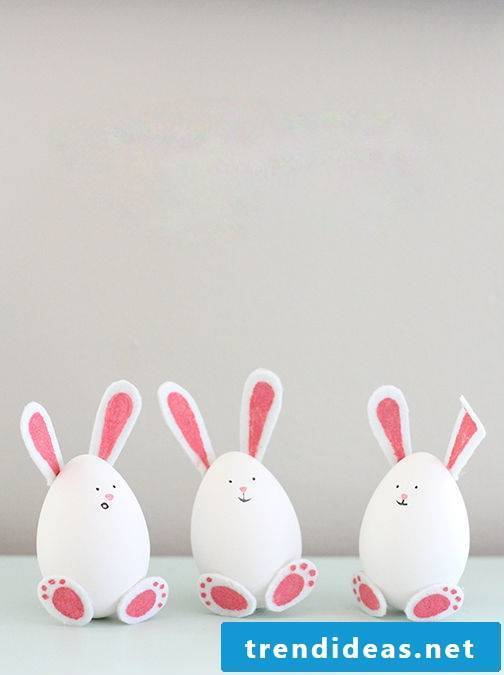 Make DIY Easter bunnies out of white Easter eggs