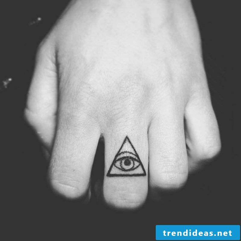 small finger tattoo eye design