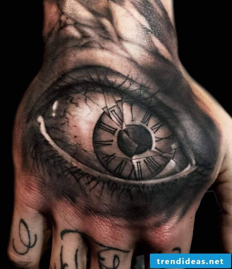 wrist eyes tattoo clock glass broken