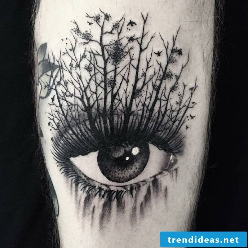 black white eyes tattoo nature trees