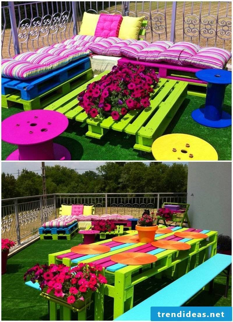 Sofa made of europallets in bright colors