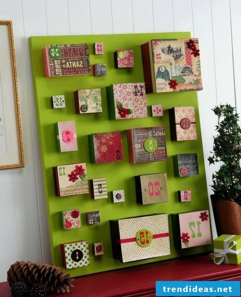 Advent calendar made from attractively decorated boxes
