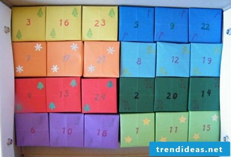 colored boxes Advent calendar made by yourself