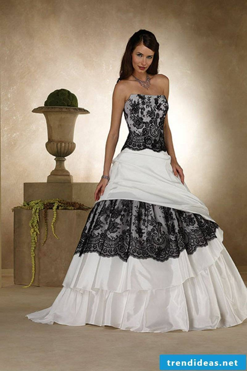 Wedding dress in black and white