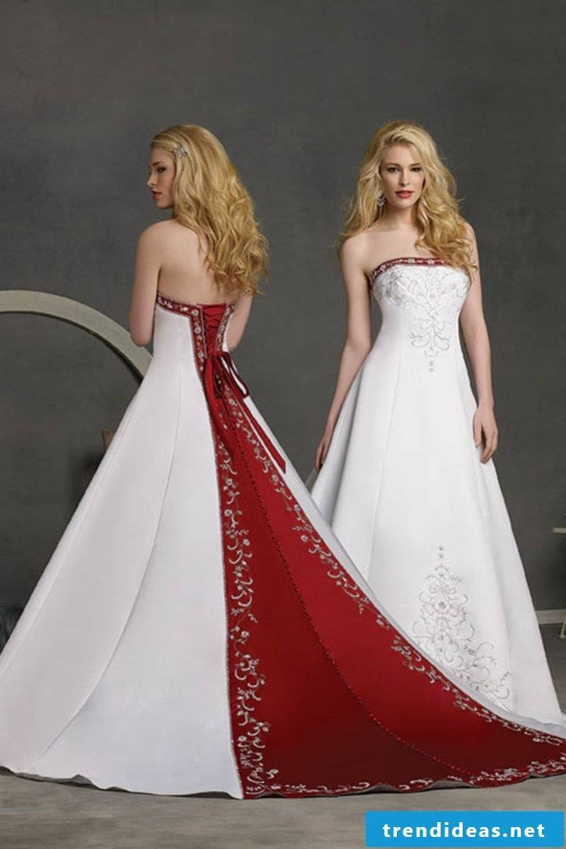 untraditional bridal gown in red and white