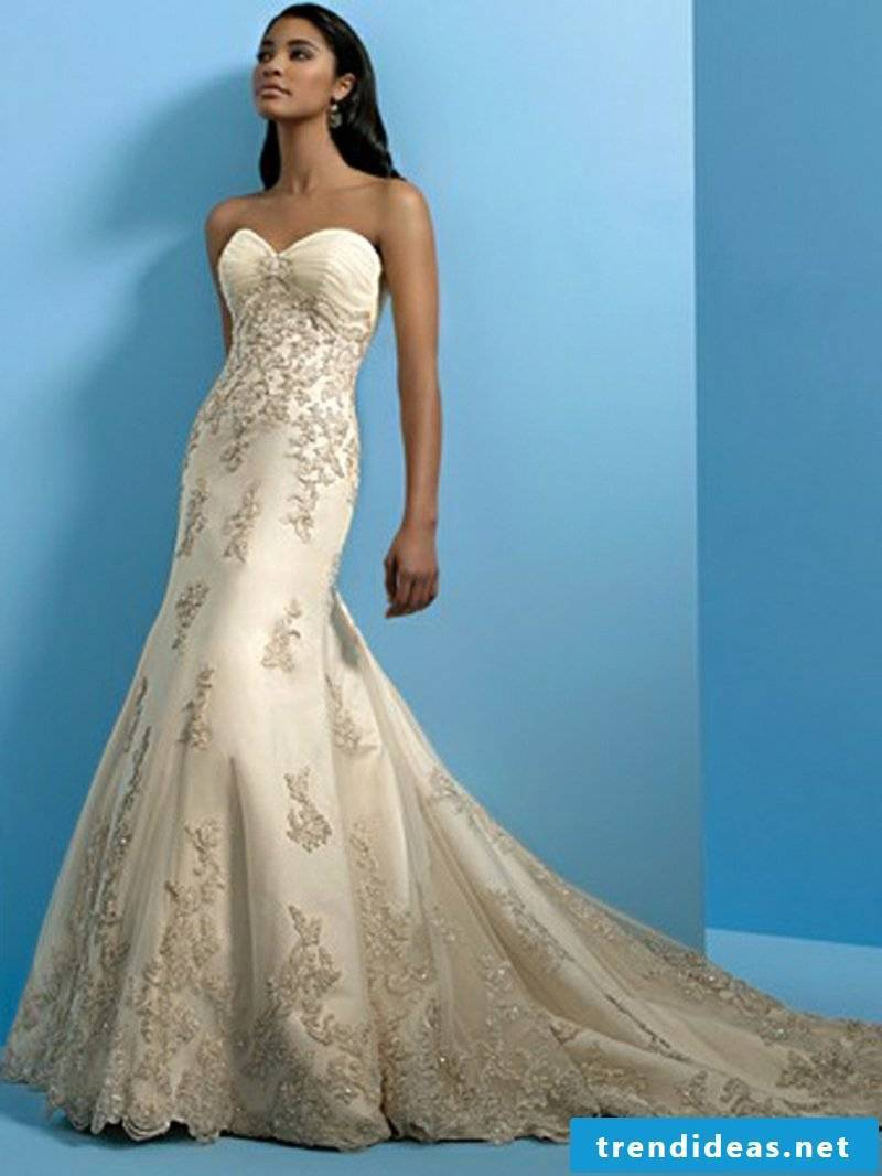 fancy bridal gown champagne color