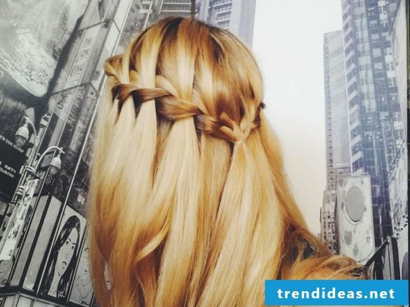 beautiful hairstyles braids semi-open waterfall braid