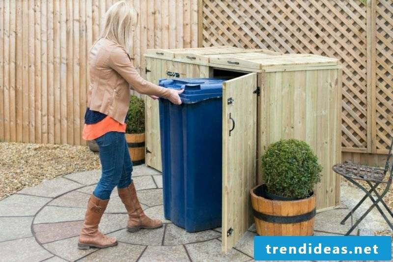 Dustbin boxes wood floor-level gorgeous look