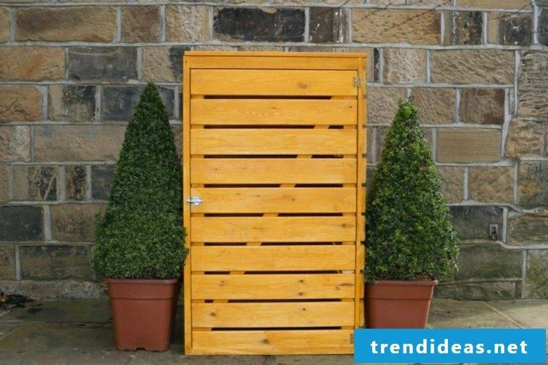 Dustbin box build yourself from wooden boards