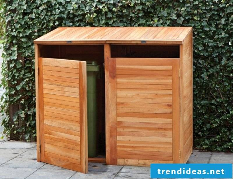 Garbage bin wood open design DIY ideas