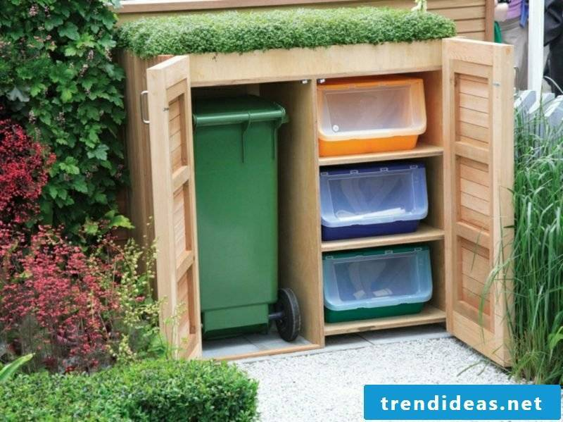 Garbage bins shelter wood shelves