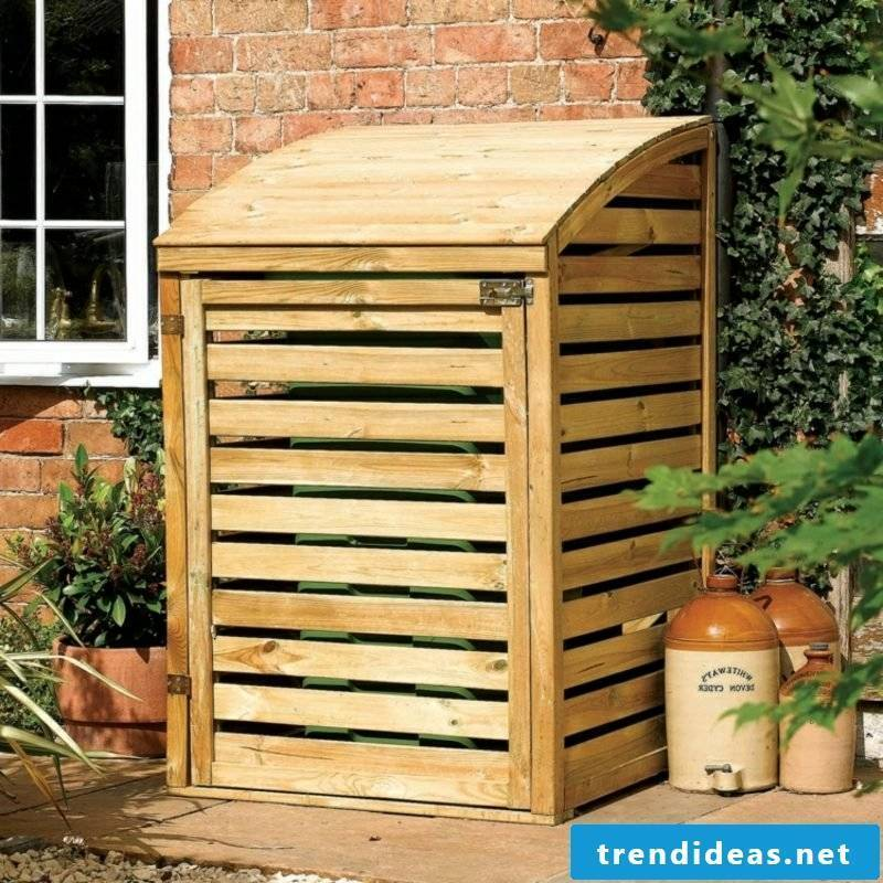 Garbage bin wood rounded roof gorgeous look