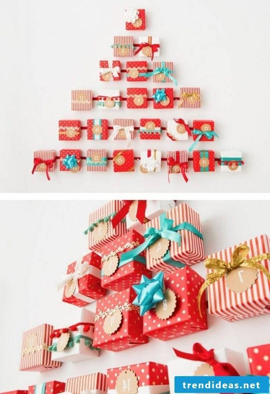 original advent calendar gift boxes Christmas tree