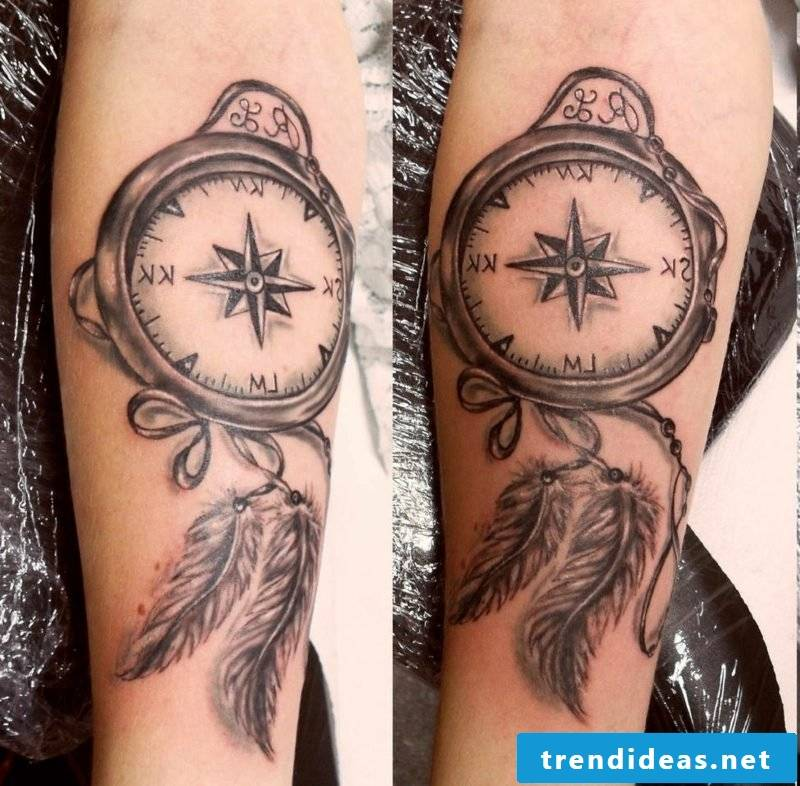 Feather tattoo compass