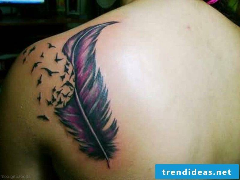 Tattoo feather with birds